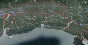 出水ツルマラソンコース俯瞰図